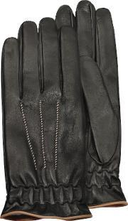 Forzieri , Men S Black Cashmere Lined Calf Leather Gloves
