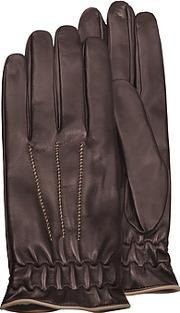 Forzieri ,  Men's Brown Cashmere-lined Calf Leather Gloves