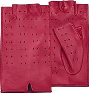 Forzieri , Women's Red Perforated Fingerless Leather Gloves