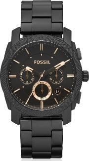 Fossil , Machine Chronograph Black Stainless Steel Men's Watch
