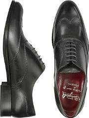 Fratelli Borgioli ,  Handmade Black Italian Leather Wingtip Oxford Shoes