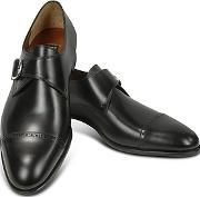Fratelli Rossetti ,  Black Calf Leather Monk Strap Shoes