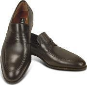 Fratelli Rossetti , Dark Brown Calf Leather Penny Loafer Shoes