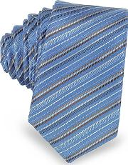 Laura Biagiotti , Light Blue And Brown Diagonal Stripe Woven Silk Extra-narrow Tie