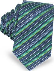 Laura Biagiotti , Navy Blue And Green Diagonal Stripe Woven Silk Extra-narrow Tie