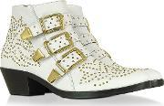 Lemar , Golden Studs White Leather Ankle Boot