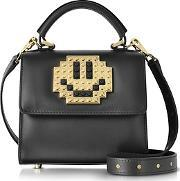 Les Petits Joueurs ,  Baby Alex Metal Smile Black Leather Satchel Bag
