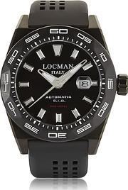 Locman ,  Stealth 300 Mt Analog Display Automatic Self Wind Black Pvd Stainless Steel Titanium And Silicone Men S Watch