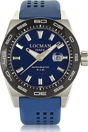 Locman ,  Stealth 300 Mt Analog Display Automatic Self Wind Blue Stainless Steel Titanium And Silicone Men S Watch