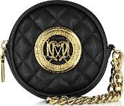 Love Moschino , Black Quilted Eco Leather Round Clutch