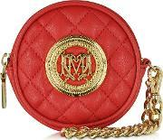 Love Moschino , Red Quilted Eco Leather Round Clutch