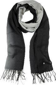 Mila Schon , Gradient Black Gray Wool And Cashmere Stole