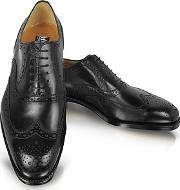 Moreschi ,  Black Leather Wingtip Oxford Shoes