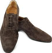 Moreschi ,  Dublin Dark Brown Suede Cap-toe Oxford Shoes