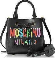 Moschino ,  Black Leather Mini Satchel Bag Wdetachable Shoulder Strap