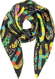 Moschino ,  Black & Multicolor  Signature Print Twill Silk Square Scarf