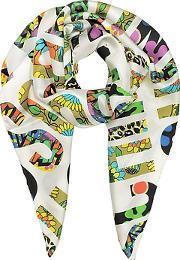 Moschino ,  White & Multicolor  Signature Print Twill Silk Square Scarf