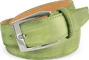 Pakerson ,  Men's Pistachio Green Hand Painted Italian Leather Belt