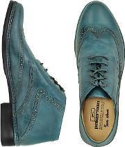 Pakerson ,  Petrol Blue Handmade Italian Leather Wingtip Ankle Boots