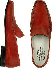 Pakerson ,  Red Italian Handmade Leather Loafer Shoes