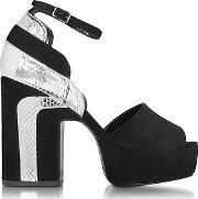 Pierre Hardy ,  Roxy Black Suede And Silver Ayers Platform Sandal