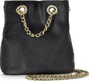 Roccobarocco , Burlesque Black Croco Embossed Eco Leather Mini Bucket Crossbody Bag