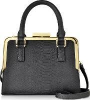 Roccobarocco , Lyric Black Animal Print Eco Leather Satchel Bag