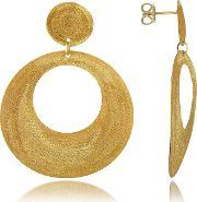 Stefano Patriarchi , Golden Silver Etched Round Cut Out Drop Earrings