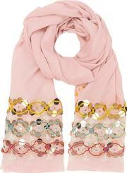Tory Burch ,  Pink Blossom Embellished Oblong Wool Scarf Wfringes