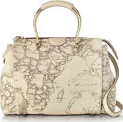 Alviero Martini 1a Classe ,  Medium Princess Geo Safari Print Satchel Bag Wcream Leather Details