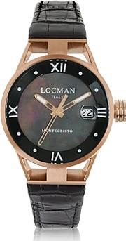 Locman ,  Montecristo Stainless Steel And Titanium Rose Gold Pvd Women's Watch Wcroco Embossed Leather Strap
