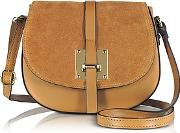Le Parmentier , Camel Leather And Suede Crossbody Bag