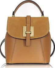 Le Parmentier ,  Palazia Camel Suede And Leather Small Backpack