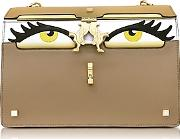 Giancarlo Petriglia ,  Light Brown Color Block Leather Peggy Eyes Shoulder Bag