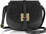 Le Parmentier , Black Leather And Suede Crossbody Bag