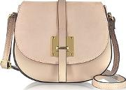 Le Parmentier , Nude Leather And Suede Crossbody Bag