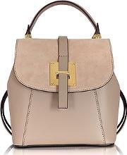 Le Parmentier ,  Palazia Nude Suede And Leather Small Backpack