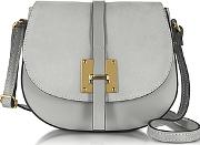 Le Parmentier , Pearl Gray Leather And Suede Crossbody Bag