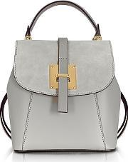Le Parmentier ,  Palazia Pearl Gray Suede And Leather Small Backpack