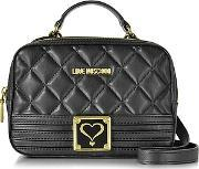 Love Moschino ,  Black Quilted Eco Leather Satchel Bag Wdetachable Shoulder Strap