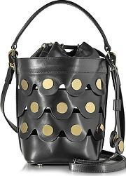 Pierre Hardy ,  Black Leather Penny Bucket Bag Wgolden Studs