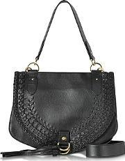 See By Chlo ,  Collins Black Braided Leather Shoulder Bag Wtassels