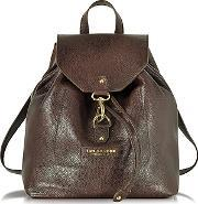 The Bridge ,  Plume Soft Donna Dark Brown Leather Backpack