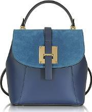 Le Parmentier , Midnight Blue Suede And Leather Small Backpack