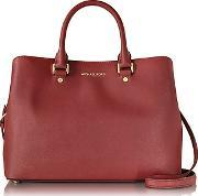 Michael Kors ,  Savanna Cherry Red Saffiano Leather Large Satchel Bag