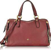 Roccobarocco , Large Burgundy Eco Leather Zip Satchel Bag
