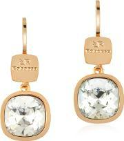 Rebecca , Candy 18 Kt Yellow Gold Over Bronze White Earrings