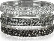 Bernard Delettrez ,  Triple Band 18k White Gold Ring Wwhite Grey And Black Diamonds