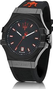 Maserati ,  Potenza Black Stainless Steel And Silicone Strap Men's Watch