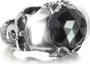 Ugo Cacciatori , Sterling Silver And Onyx Double Skull Ring